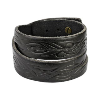 Black Leather Double Wrap Bracelet with Tidal Wave Tribal Design