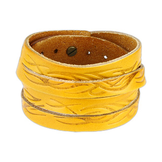 Yellow Leather Double Wrap Bracelet with Tidal Wave Design