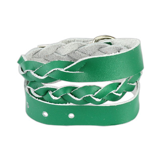Green Leather Double Wrap Weaved Strip Bracelet