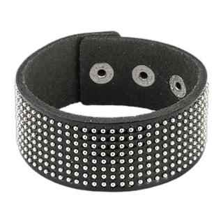 Glossy Black Leather Bracelet with Multi Round Studs
