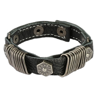 Black Leather Bracelet with Multi Stapler Rings