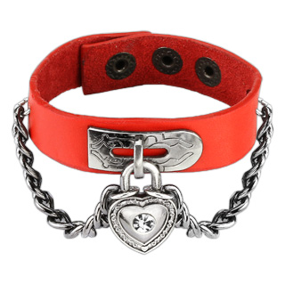 Red Leather Bracelet with Chain Linked CZ Heart Lock Charm