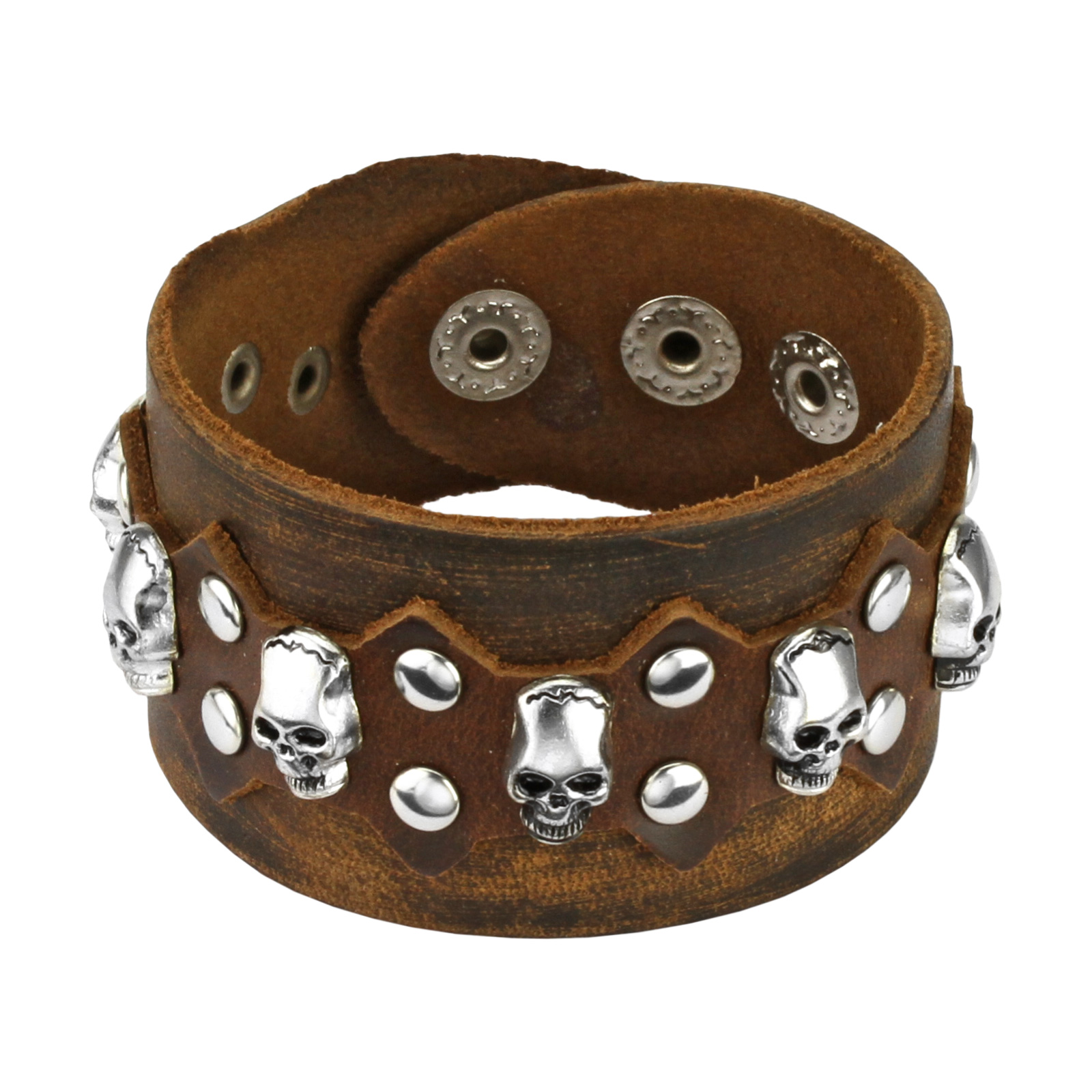 Brown Leather Bracelet with Multi Skulls and Round Studs