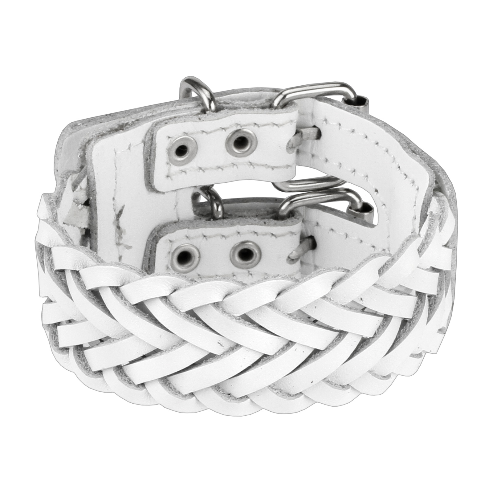 White Leather Triple Weaved Bracelet with Adjustable Buckle