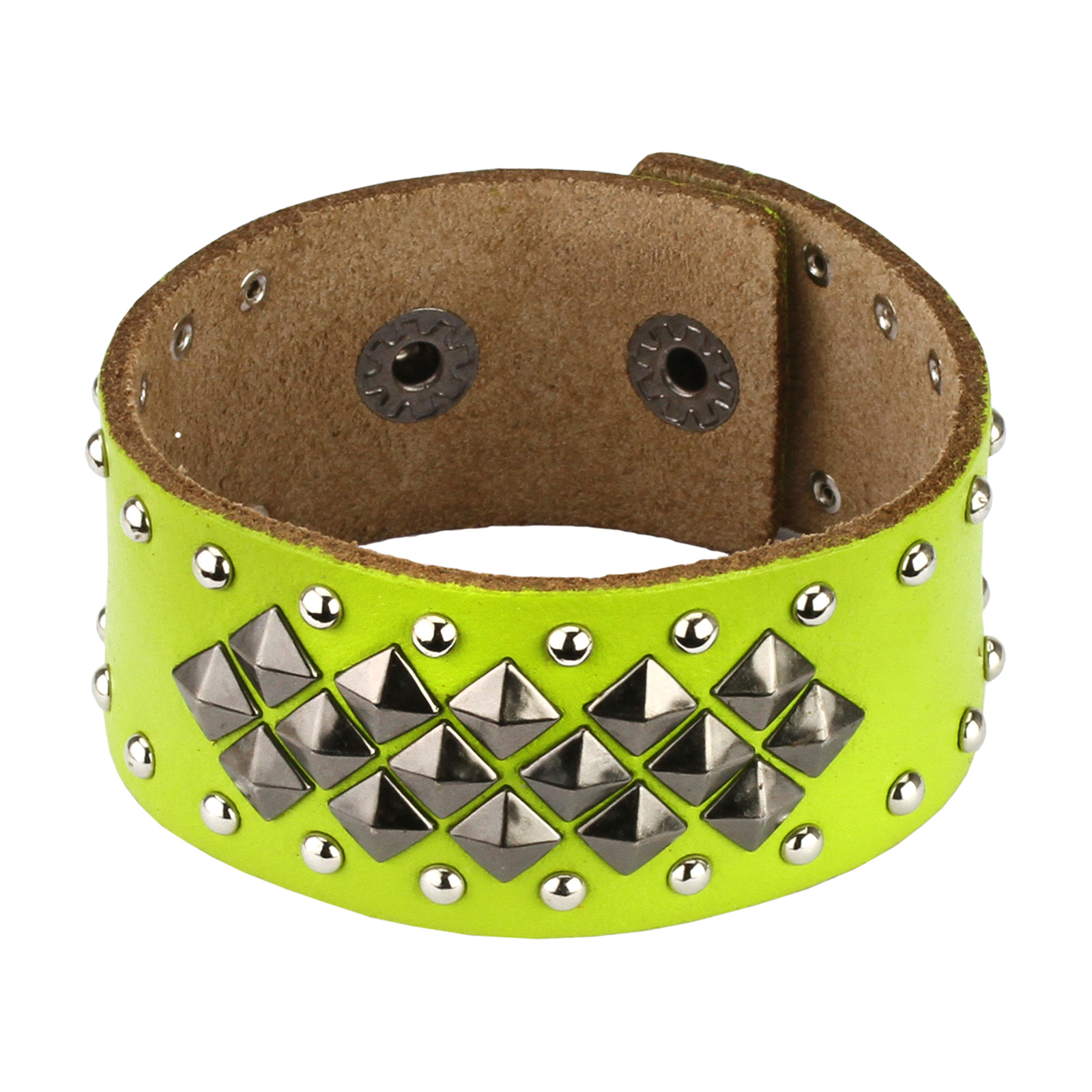 Green Leather Multi Pyramid and Round Studs Bracelet