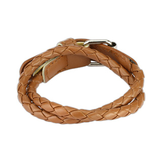Brown Multi Weaved Double Wrap Bracelet with Buckle End Design