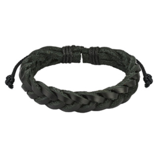 Black Leather Bracelet with Cross Braided Strips