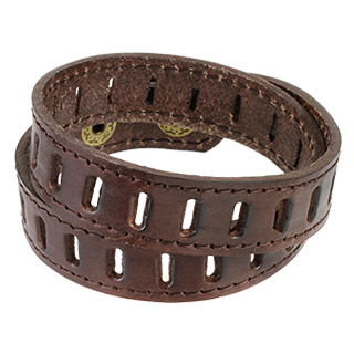 Brown Leather Double Wrap with Slit Patterned Bracelet
