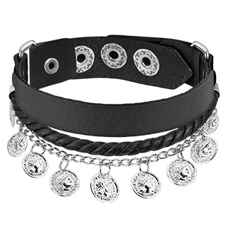Black Leather Braided Bracelet with Silver Coin Charms