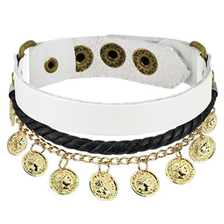 White Leather Braided Bracelet with Gold Coin Charms