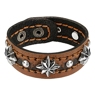 Brown Leather Bracelet with Steel Stars and Balls Studs