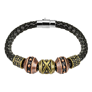 Black Leather Braided String with Steel Tribal Beads