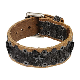 Black & Brown Leather Bracelet with Stars and Studs