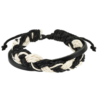 Black Leather Bracelet with Double Weaved Strings Center