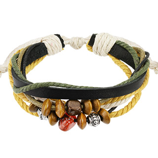 Black Leather with Two Tone Braided Bracelet and Beads