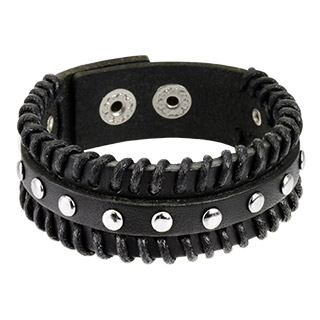 Black Leather Bracelet with Stitched Borders and Studded Centre
