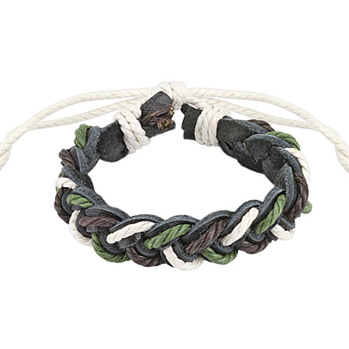 Tri- Color Braided Leather Bracelet with Drawstrings