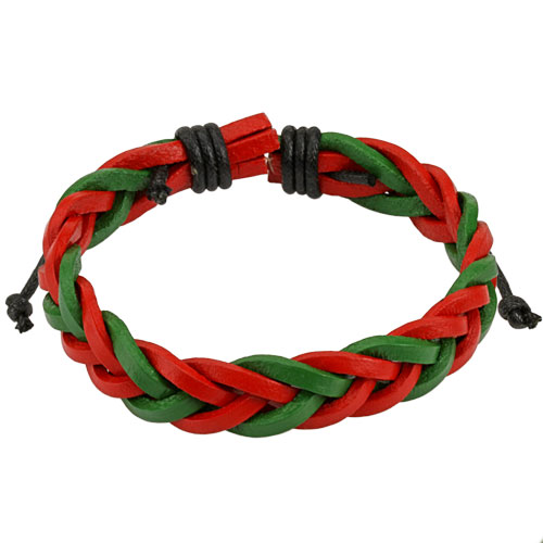 Red and Green Braided Leather Bracelet with Drawstrings