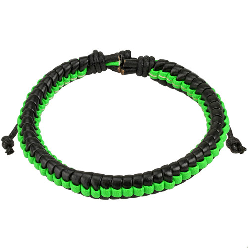 Black Leather Bracelet with Green Weaved Center Strip