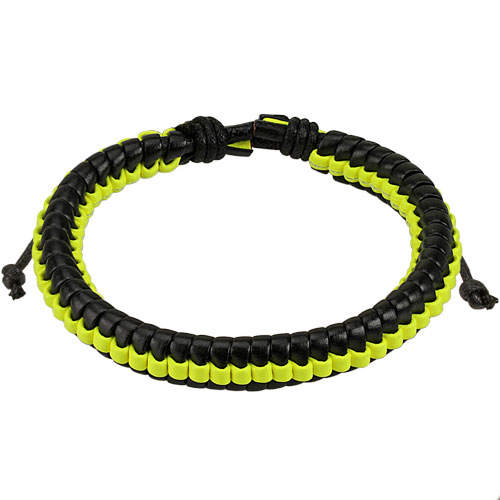 Black Leather Bracelet with Yellow Weaved Center Strip