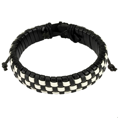 Black and White Checker Weaved Layers Leather Bracelet