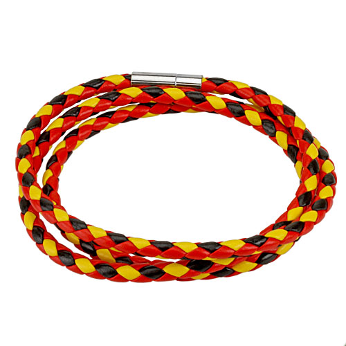 Black, Red, and Yellow Multi Weaved Triple Wrap Bracelet