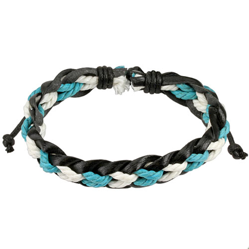 Black Leather Bracelet with Blue / White Braided Strings Center