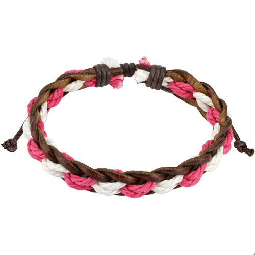 Brown Leather Bracelet with Pink / White Braided Strings Center