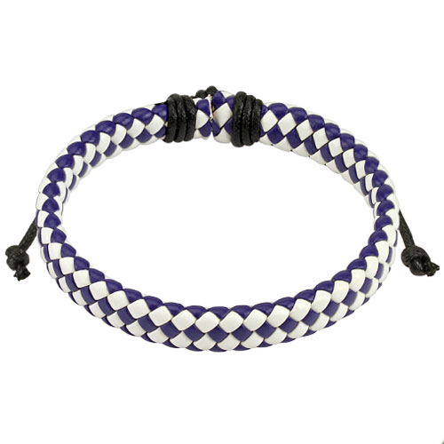 Blue and White Diagonal Checker Weaved Leather Bracelet