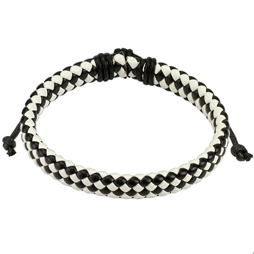 Black and White Diagonal Checker Weaved Leather Bracelet