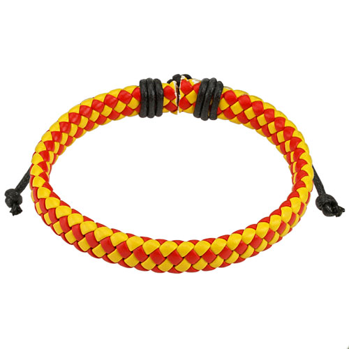 Red and Yellow Diagonal Checker Weaved Leather Bracelet