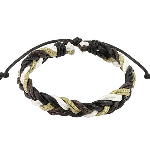 Dark Brown Multi Colored Braided Leather Bracelet