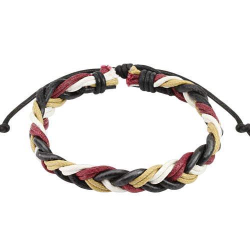 Wine Red Multi Colored Braided Leather Bracelet
