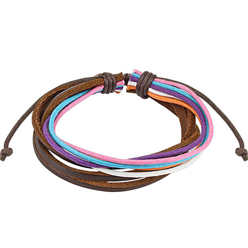 Brown Leather and Multi Colored Strands Bracelet