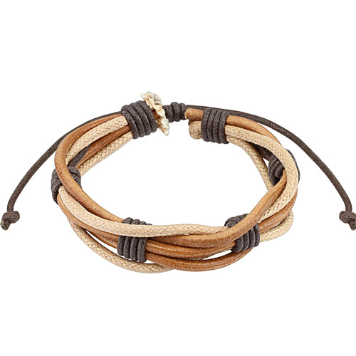 Brown Multi String Leather Bracelet with Drawstrings
