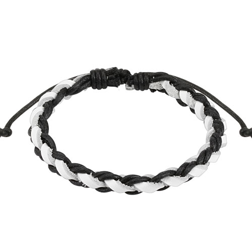 Black and White Braided Leather Bracelet with Drawstrings