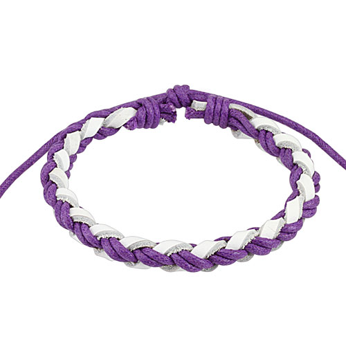 Light Violet and White Braided Leather Bracelet
