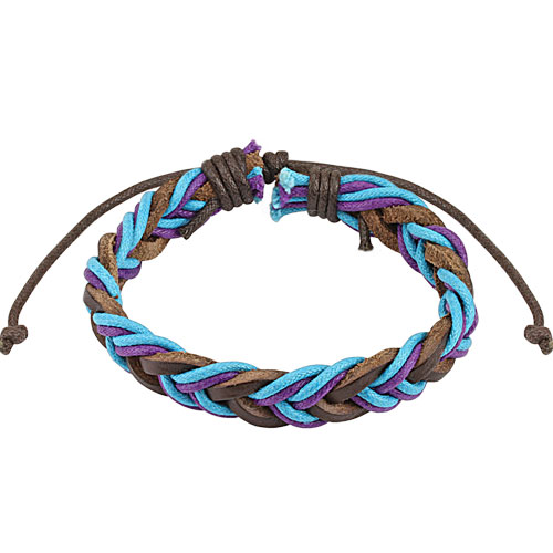 Brown with Blue and Purple Braided Leather Bracelet - Click Image to Close