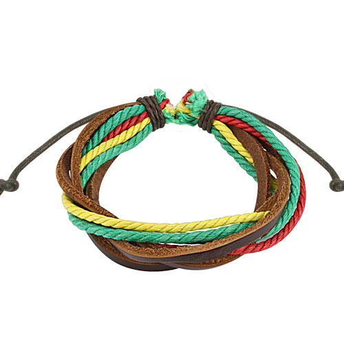 Brown with Triple Colored Rasta Leather Bracelet