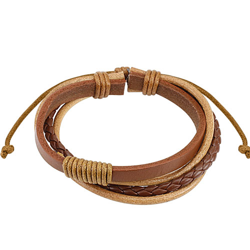 Brown Combination Leather Bracelet with Drawstrings