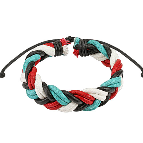 Quad-Colored Double Braided Leather Bracelet