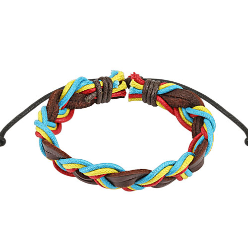 Brown Triple Coloured Rasta Braided Leather Bracelet