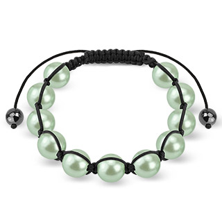 Bracelet with Green Pearlish Beads