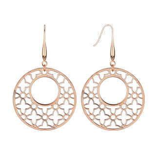 Rose Gold IP Micro Thin LaserCut Ornament Dangle Earring