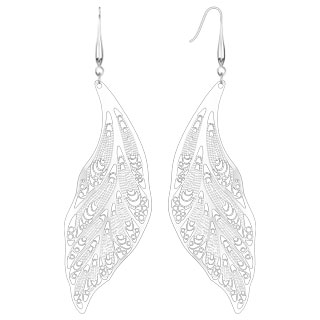 Micro Thin Laser Cut Leaves Dangle Earring