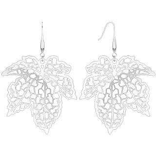 Micro Thin Laser Cut Maple Leaf Dangle Earring