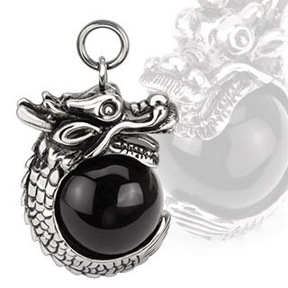 Dragon Wrapped Over Black Orb Pendant
