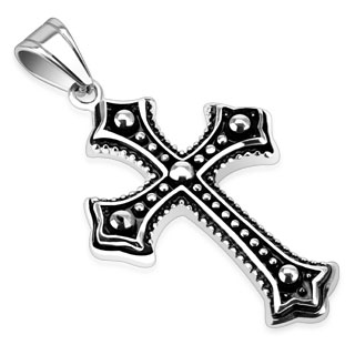 Metallic Ball Layered Cross Pendant